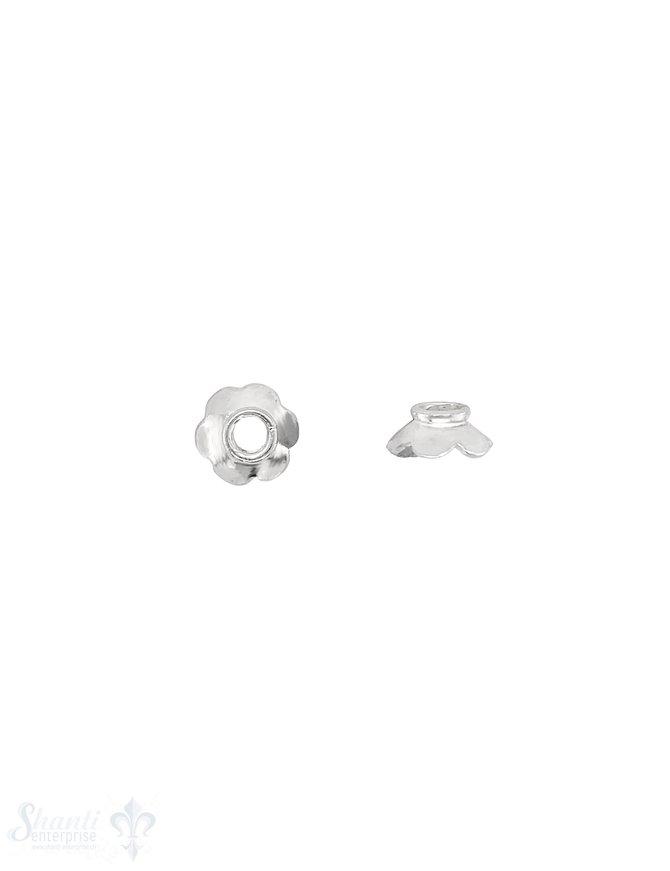 Blumen Perlkappe 10x4,5 mm 6-blättrig abgeflacht mit Rand Silber 925 poliert  ID 3,0 mm 1 Pack = 8 Stk. ca. 5 gr.