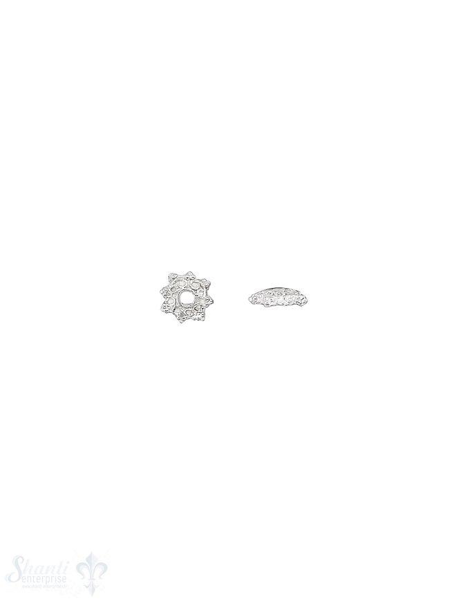 Blumen Perlkappe 7x2,5 mm gezackt verziert flach Silber 925 hell ID 1,2 mm 1 Pack = 16 Stk. ca. 4 gr.