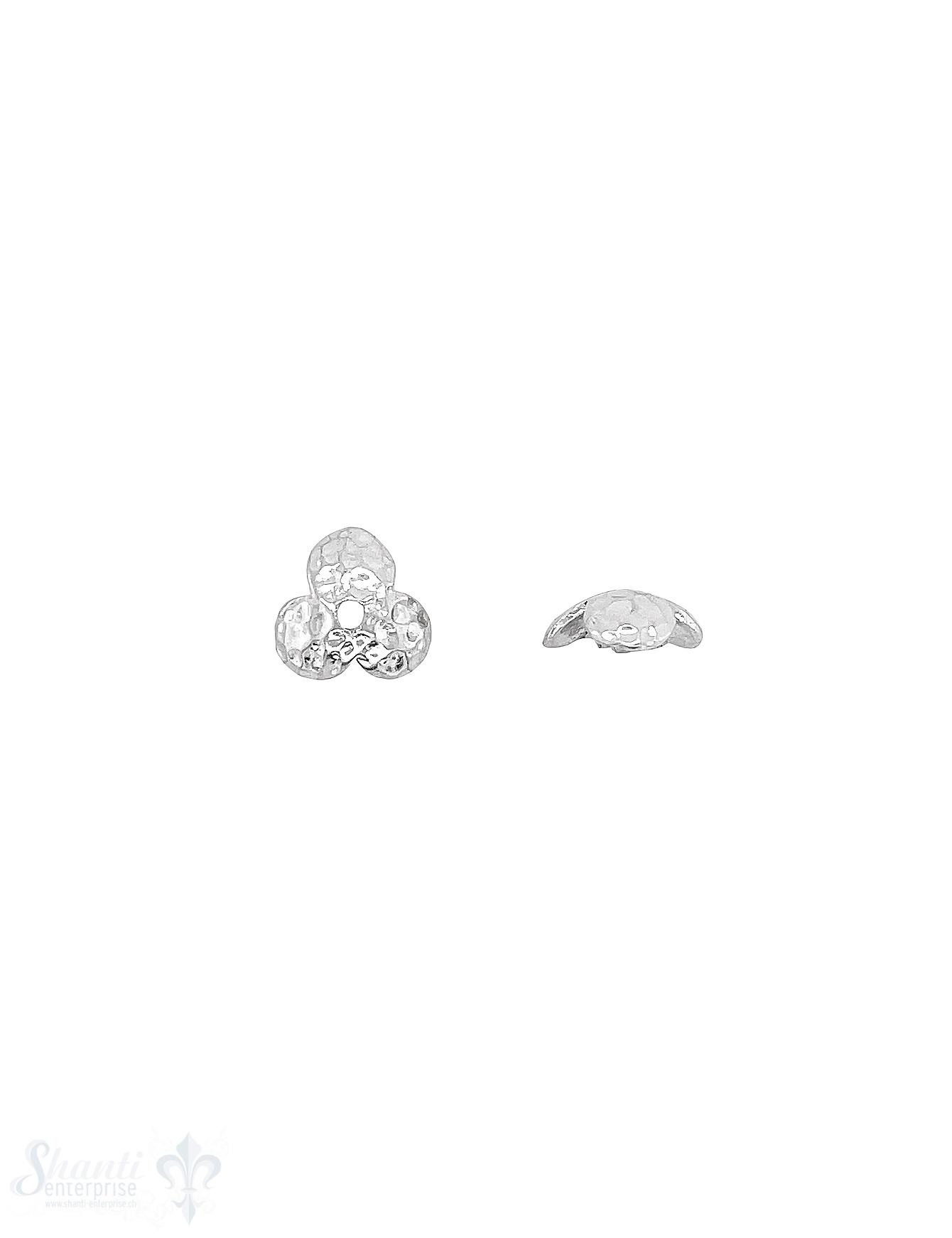 Blumen Perlkappe 10x3,8 mm 3-blättrig gehämmert