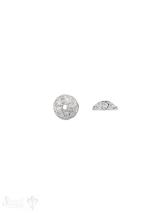 Blumen Perlkappe 10x3,9 mm mit Blütenblätter verziert ID 7,5 mm Silber 925 hell  ID 1.7 mm 1 Pack = 6 Stk. ca. 4 gr.