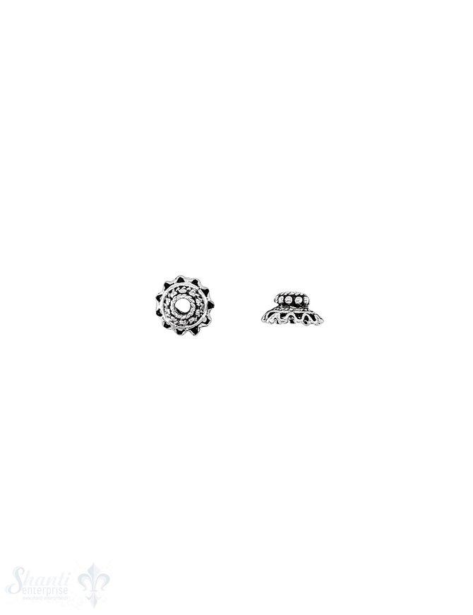 Blumen Perlkappe 8,5x4,5 mm reich verziert gezackt mit Rand Silber 925 geschwärzt ID 2,0 mm leicht 1 Pack = 12 Stk. ca. 5 gr.