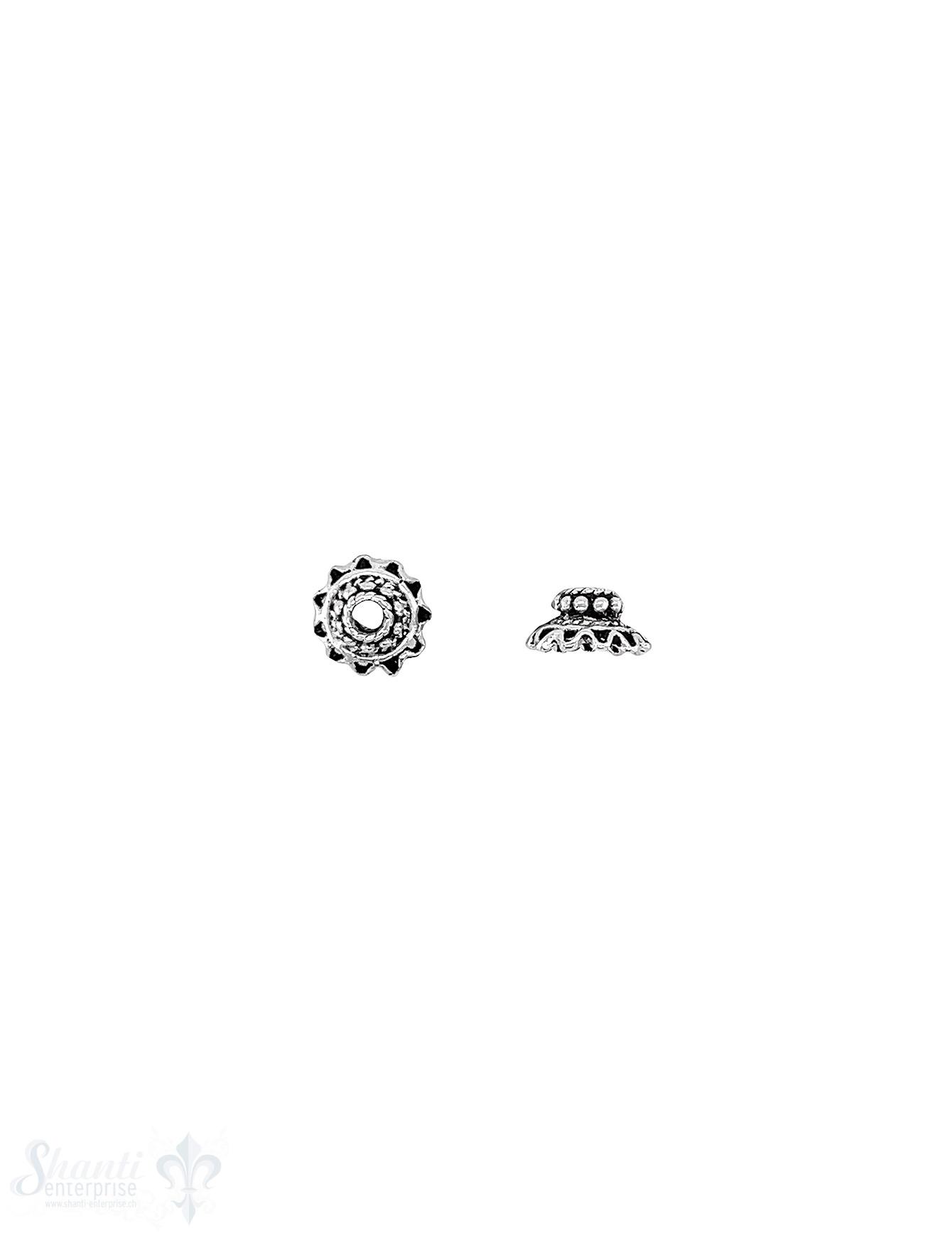 Blumen Perlkappe 8,5x4,5 mm reich verziert gezackt
