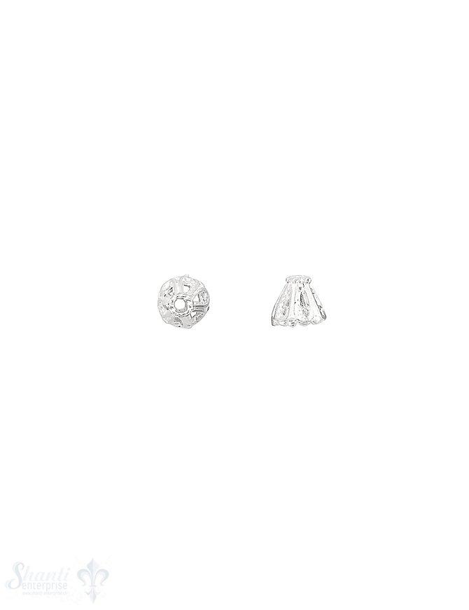 Blumen Perlkappe 7x6,5 mmx verziert durchbrochen Silber 925 hell   ID 1,6 mm 1 Pack = 8 Stk. ca. 4 gr.