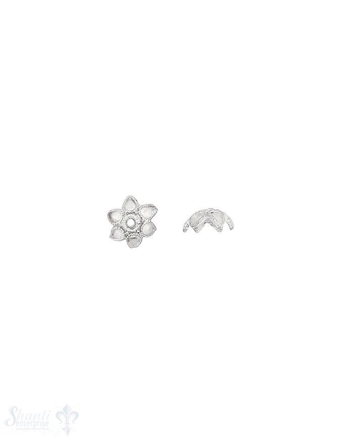 Blüten Perlkappe 10x4,4 mm 6-blättrig gepunktet mit Rand verziert Silber 925 hell  ID 1.1 mm 1 Pack = 10 Stk. ca. 4 gr.