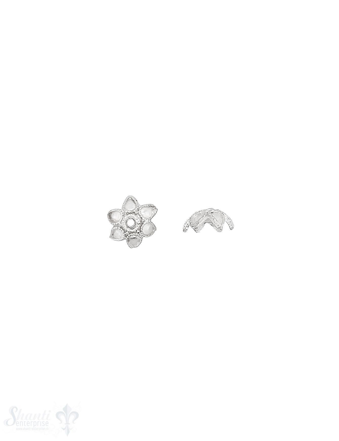 Blüten Perlkappe 10x4,4 mm 6-blättrig gepunktet