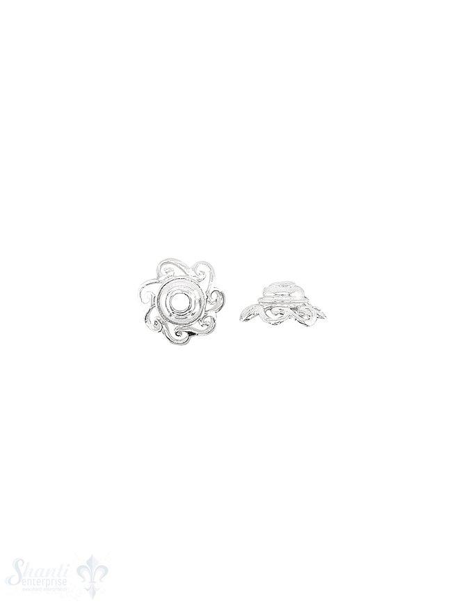 Blüten Perlkappe 12x5 mm verziert durchbrochen mit Rand Silber 925 hell  ID 2 mm 1 Pack = 6 Stk. ca. 4 gr.