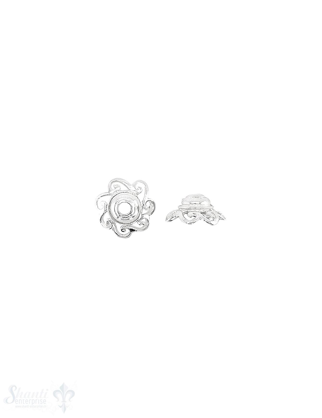 Blüten Perlkappe 12x5 mm verziert durchbrochen