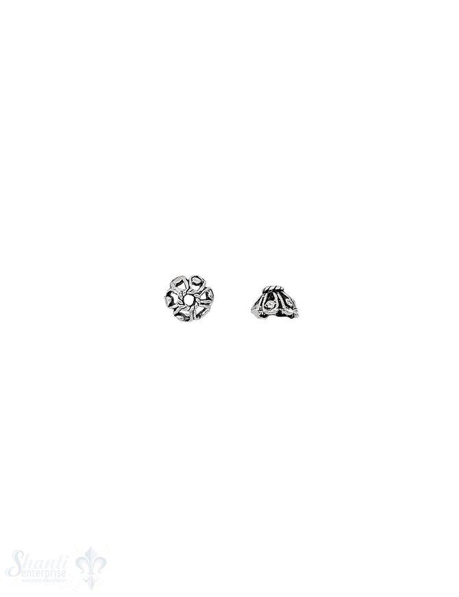 Blüten Perlkappe 7x4,5 mm verziert durchbrochen mit Rand verziert Silber 925 geschwärzt ID 1,8 mm 1 Pack = 16 Stk. ca. 5 gr.