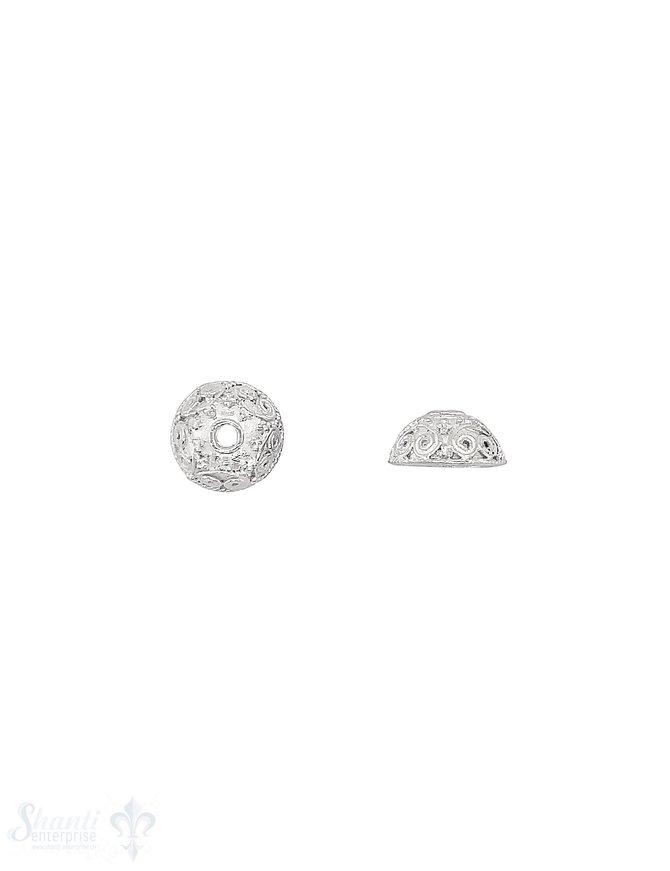 Blumen Perlkappe 11x5,3  mm Ethno verziert mit Rand ID 8 mm Silber 925 hellI D 1.5 mm 1 Pack = 4 Stk. ca. 4 gr.