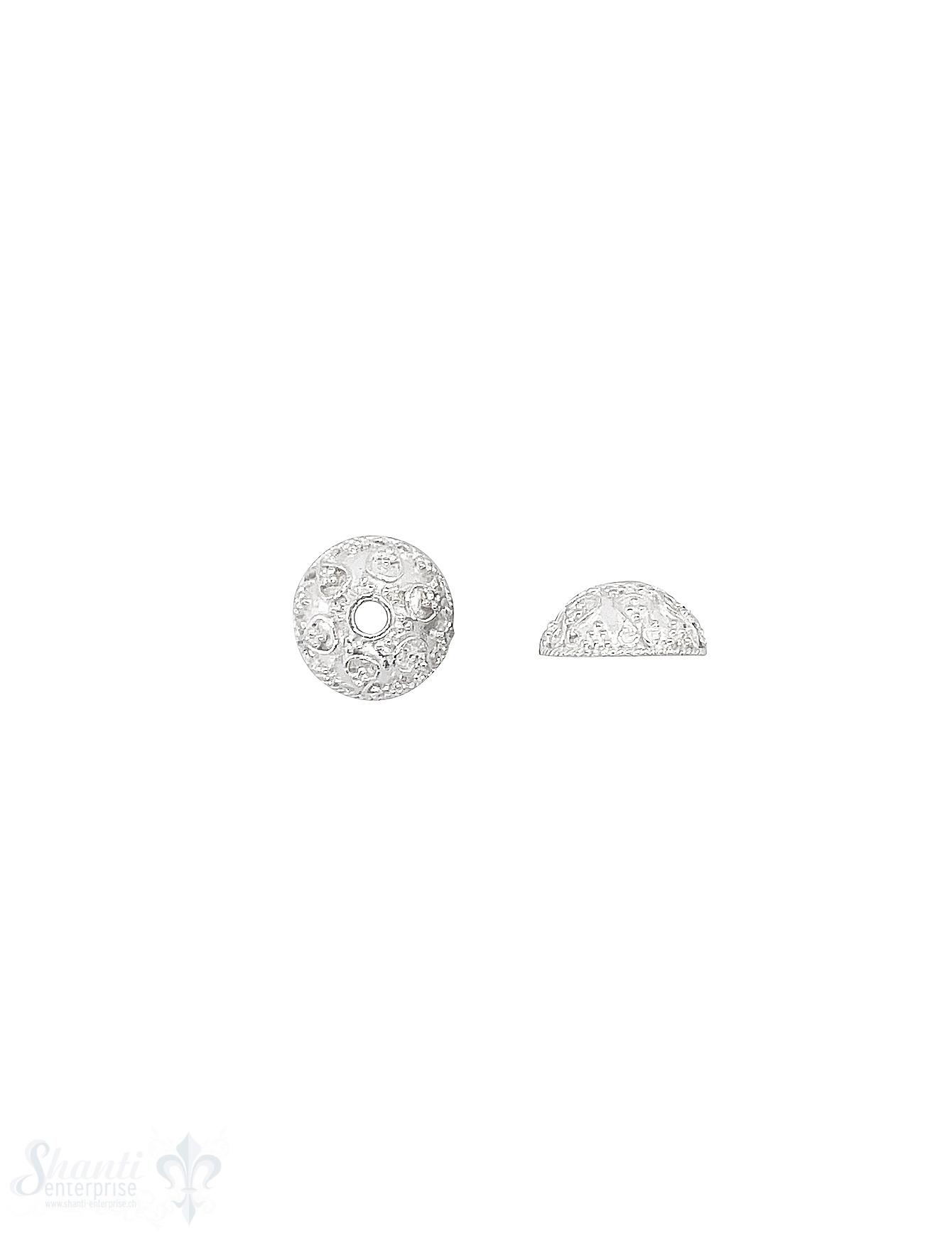 Perlkappe Silber hell 11 mm unregelmässig gepunkte