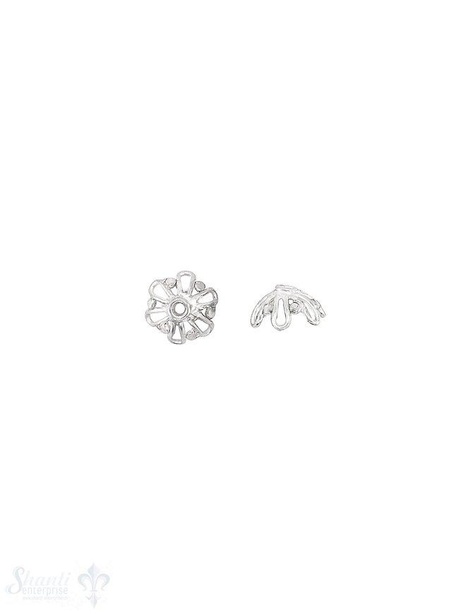 Blüten Perlkappe 9x3,5 mm stark durchbrochen Silber 925 hell  ID 1.4 mm 1 Pack = 10 Stk. ca. 4 gr.