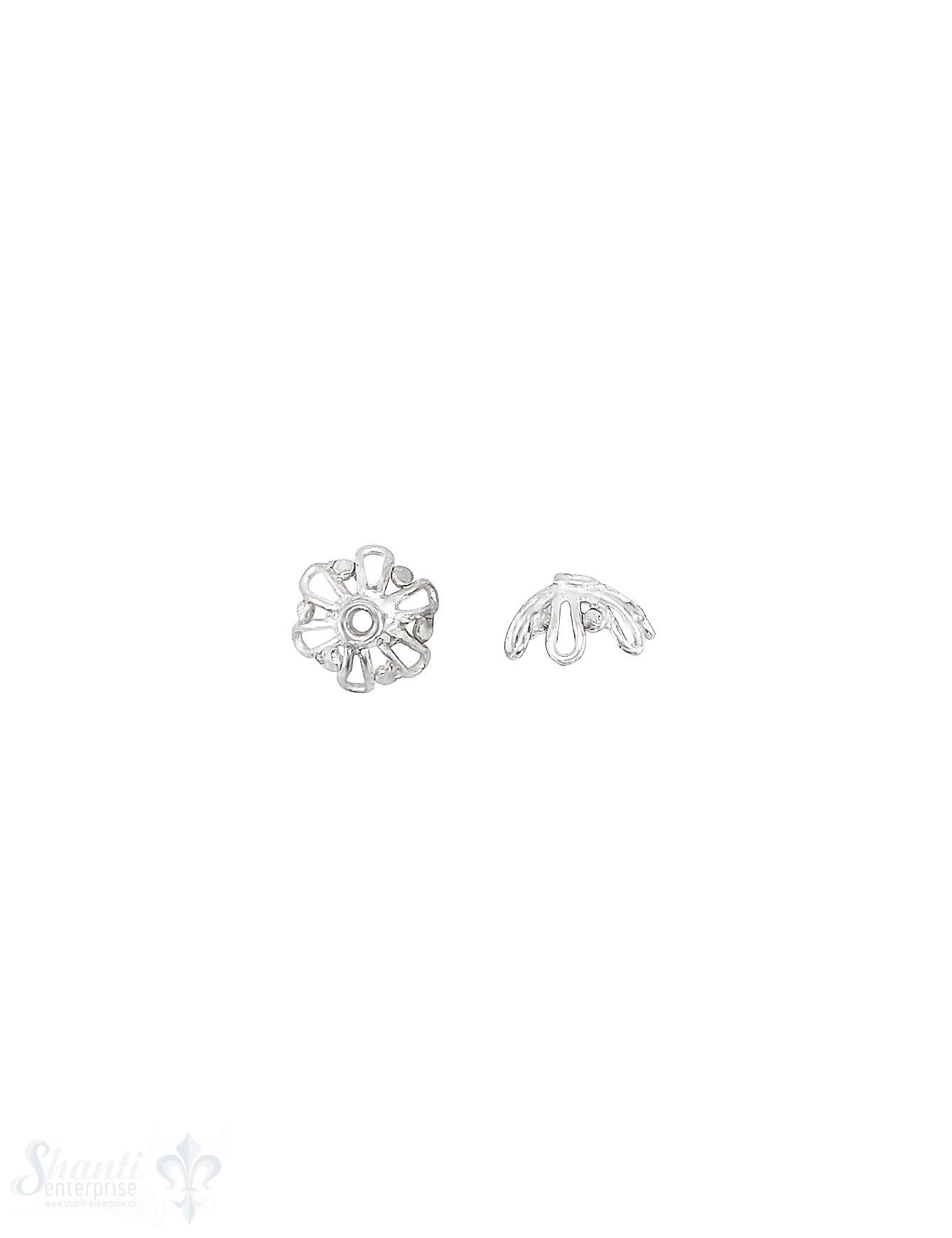 Blüten Perlkappe 9x3,5 mm stark durchbrochen