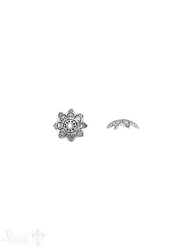 Ethno Perlkappe 11x4 mm Blüten doppelt eingeritzt verziert Silber 925 geschwärzt  ID 0.8 mm 1 Pack = 8 Stk. ca. 4 gr.