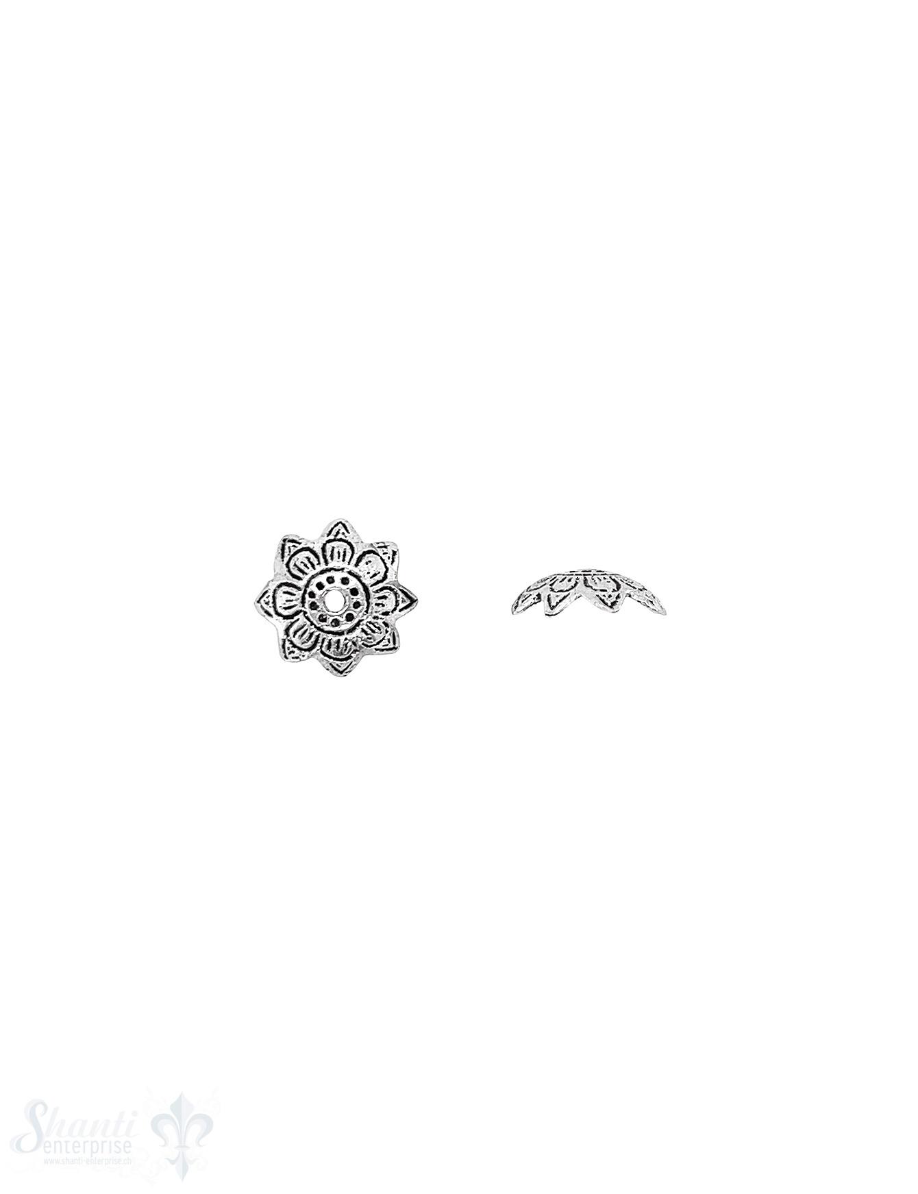 Ethno Perlkappe 11x4 mm Blüten doppelt eingeritzt