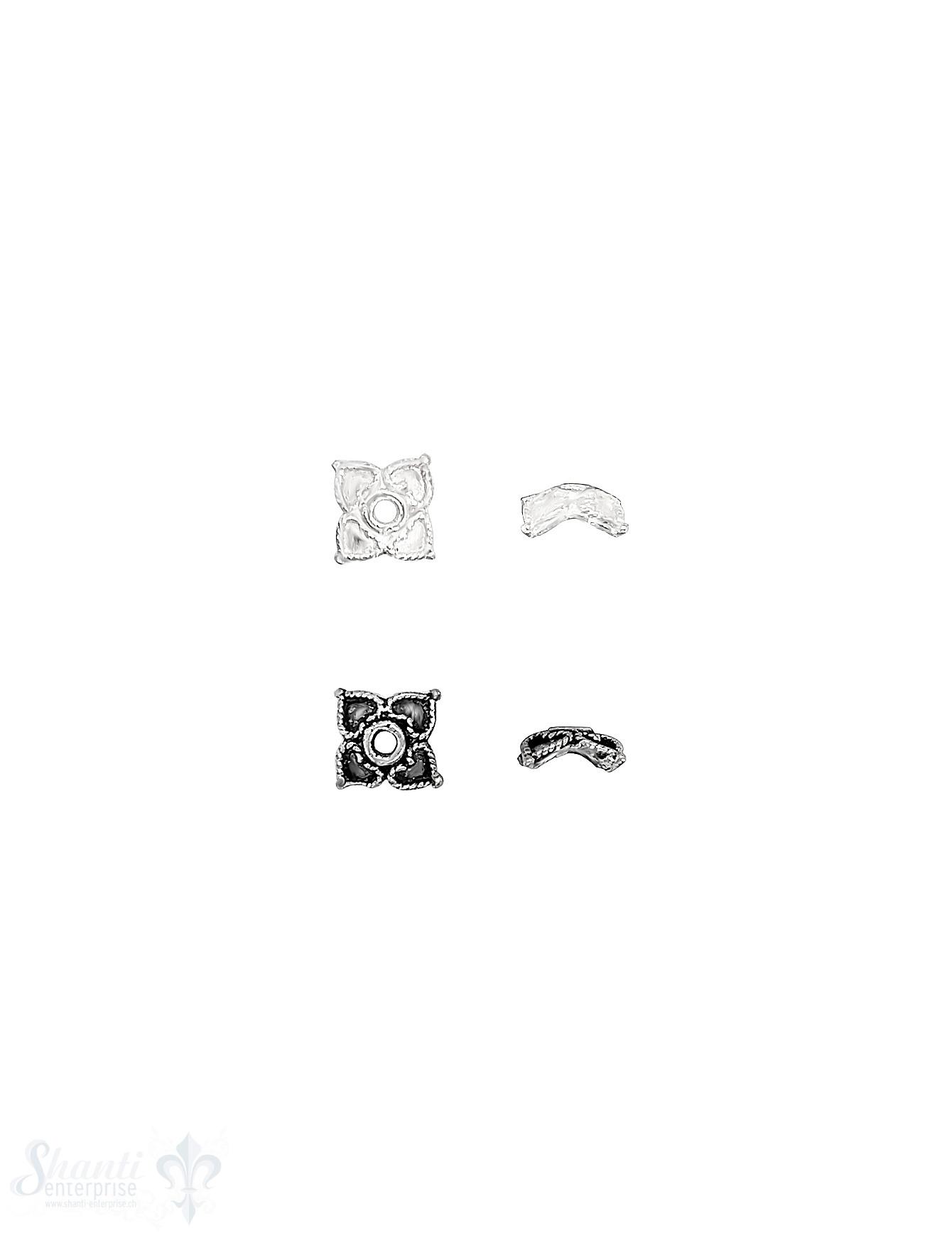Blüten Perlkappe 9x2,6 mm 4-blättrig verziert mit Rand Silber 925 ID 1.2 mm 1 Pack = 18 Stk. ca. 5 gr.