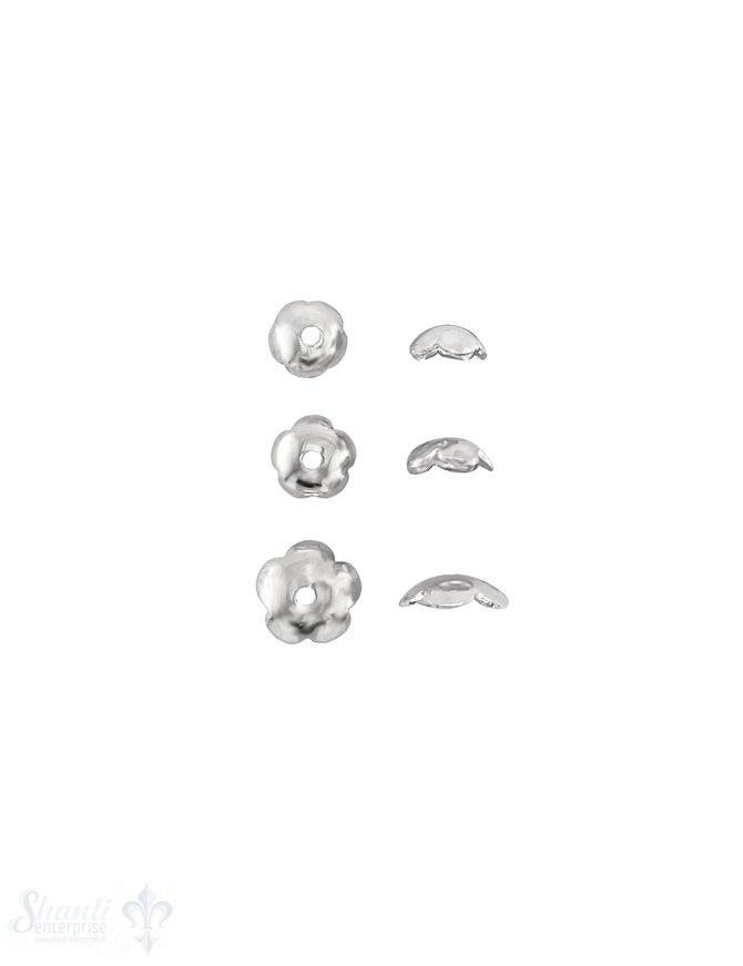 Blumen Perlkappe 5-blättrig abgekantet Silber 925 poliert