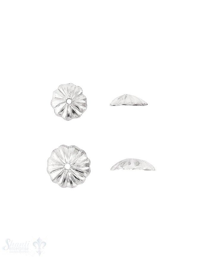 Blumen Perlkappe gerillt gekantet flach Silber 925 poliert