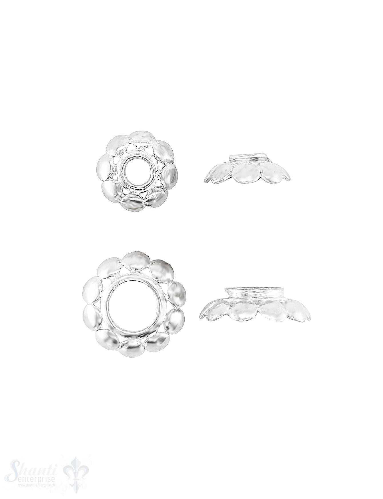 Blumen Perlkappe 8-blättrig bombiert mit Rand durchbrochen Silber 925 poliert