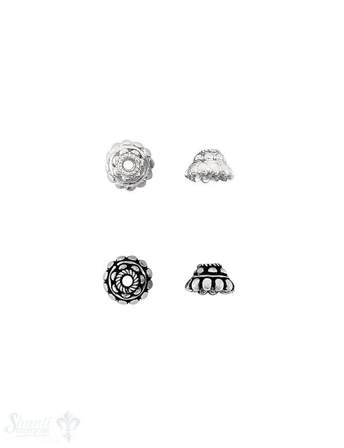 Blumen Perlkappe 9x 5,5 mm 2-reihig Punkte rund u. flach Rand verziert Silber 925 massiv ID 2,2mm 1 Pack = 4 Stk. ca. 4 gr.
