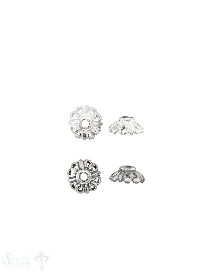 Blüten Perlkappe 10 mm mit 4 Herzen durchbrochen mit Rand Silber 925 ID 2.1 mm 1 Pack = 8 Stk. ca. 5 gr.