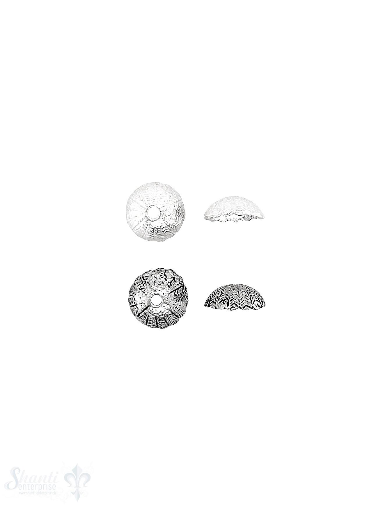 Feder Perlkappe 10x3,7 mm fein strukturiert eingeritzt Silber 925 ID 1.6 mm 1 Pack = 8 Stk. ca. 5 gr.