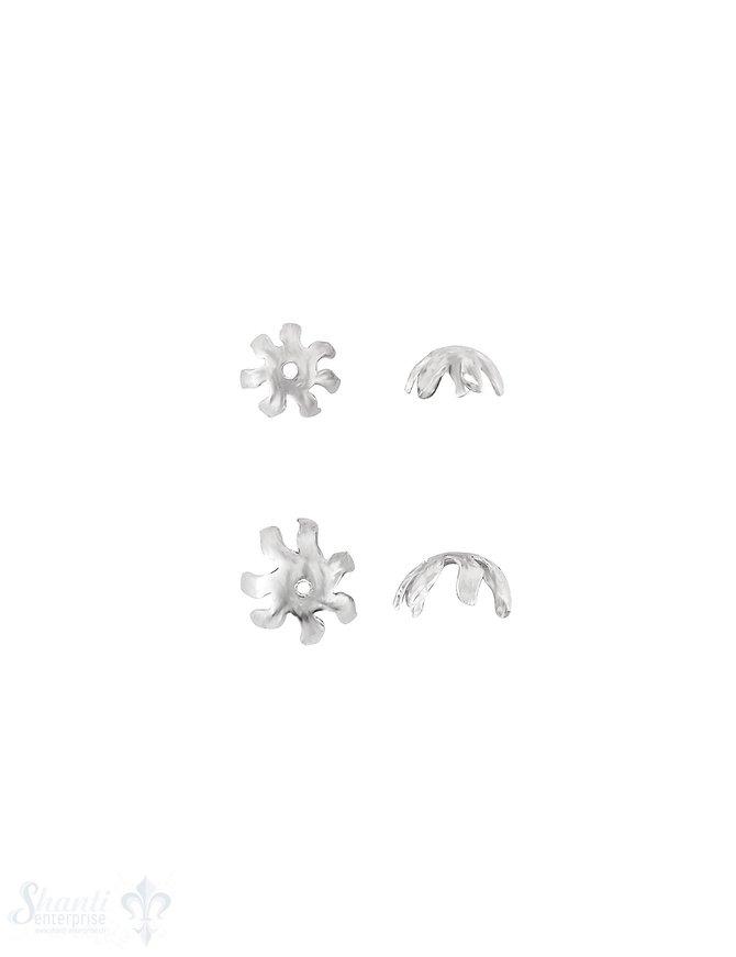 Blüten Perlkappe 7-blättrig gezackt gewellt bombiert Silber 925 poliert