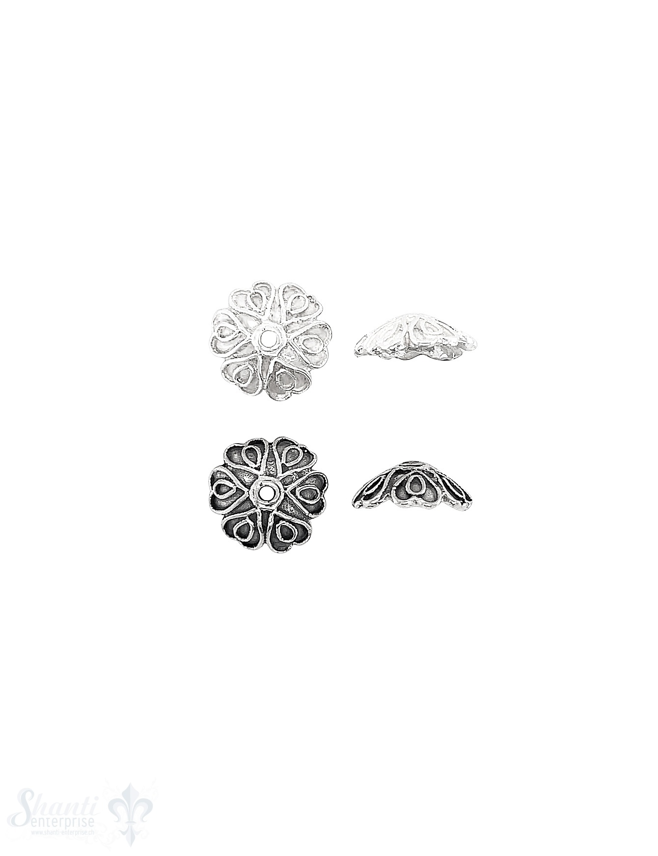 Blumen Perlkappe 12x4 mm Stern verziert Schlaufen mit Rand Silber 925 ID 1.4 mm 1 Pack = 6 Stk. ca. 4 gr.