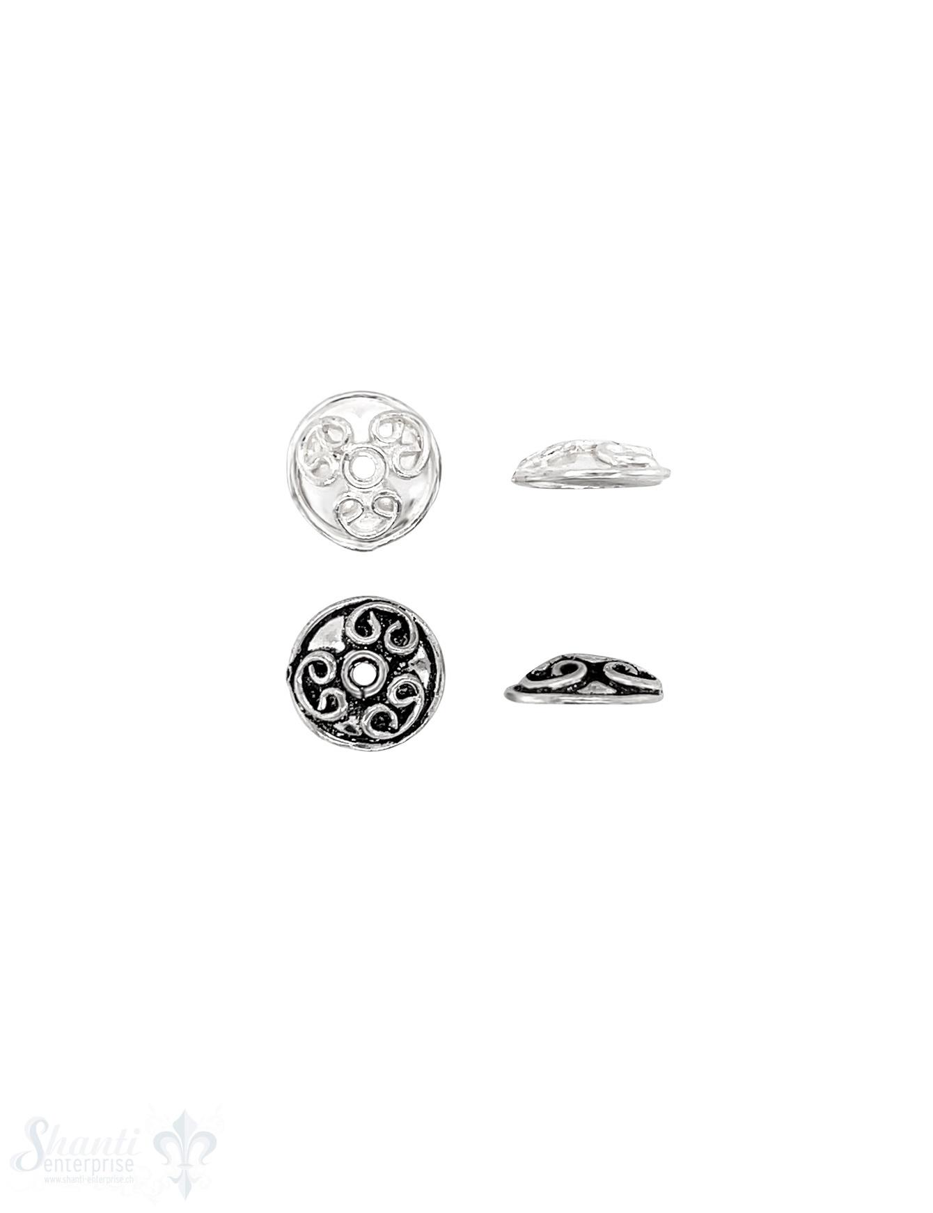 verzierte Perlkappe 11x3 mm Brezel verziert flach Silber 925 ID 1.2 mm 1 Pack = 8 Stk. ca. 5 gr.