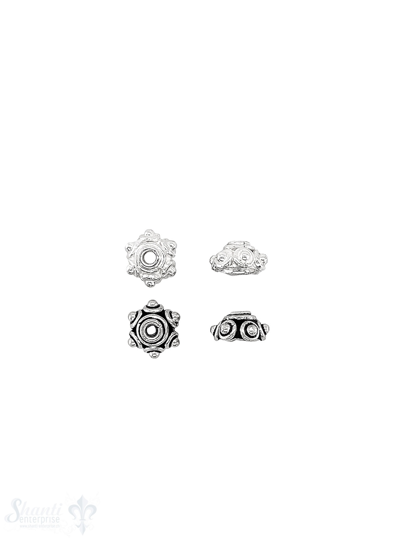 Noppen Perlkappe 8x4,6 mm eingekreis Doppelrand grob Silber ID 1.7 mm 1 Pack = 6 Stk. ca. 5 gr.