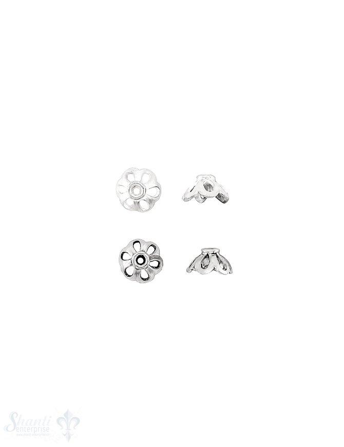 Blüten Perlkappe 8x4,3 mm oval durchbrochen mit Rand Silber 925 ID 1,3 mm 1 Pack = 14 Stk. ca. 4 gr.