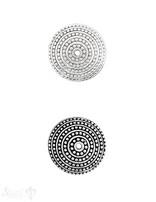 Ethno Perlkappe 24x9 mm gerillt und gepunktet Silber ID 1.7 mm