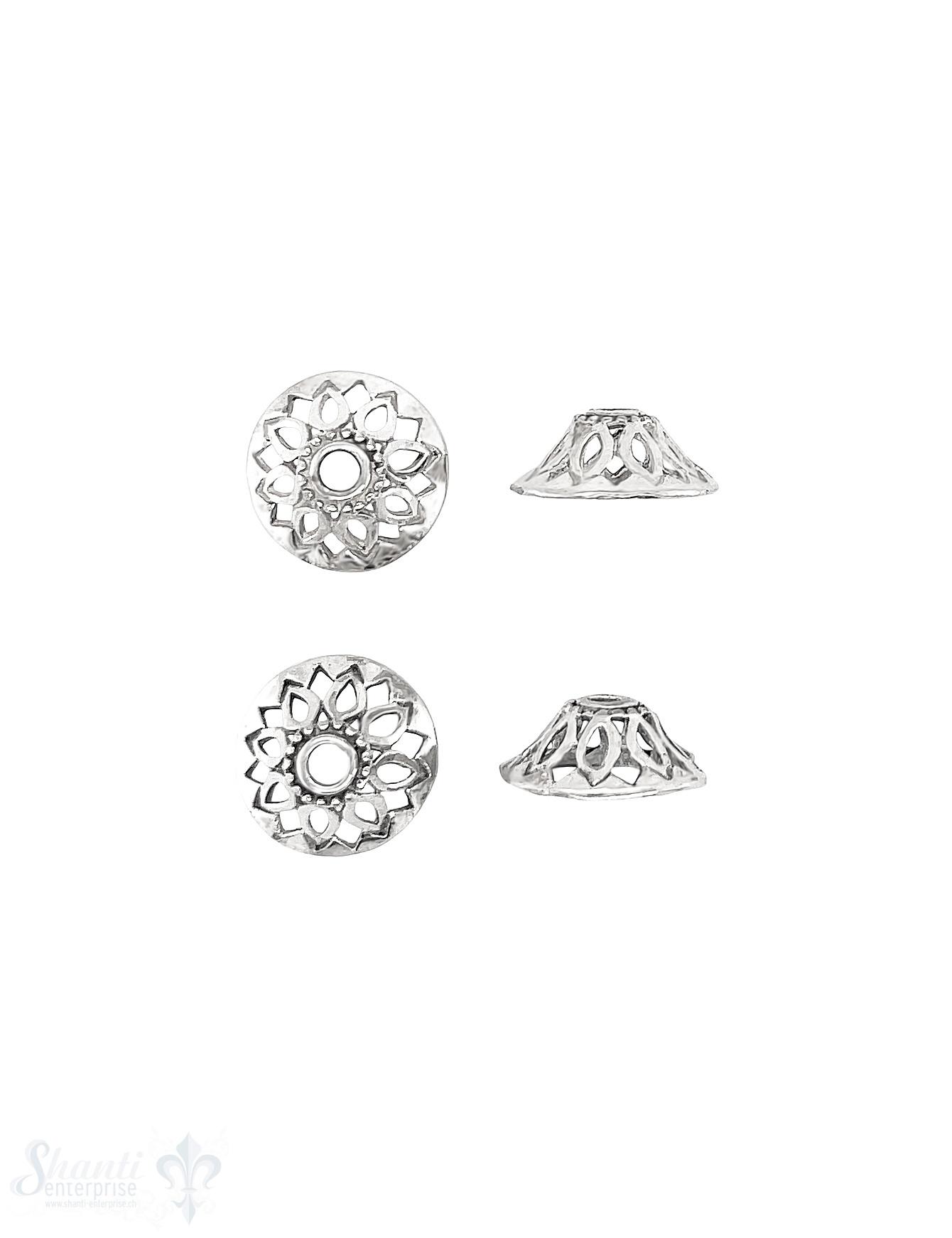 Blumen Perlkappe 14x5 mm Navette Muster ID 12 mm durchbrochen Silber 925 ID 2.5 mm 1 Pack = 6 Stk. ca. 4 gr.