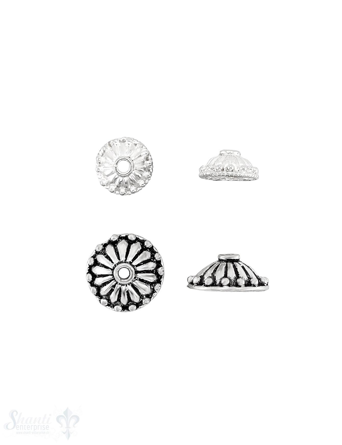Blumen Perlkappe gerillt getuptft mit Rand Silber 925