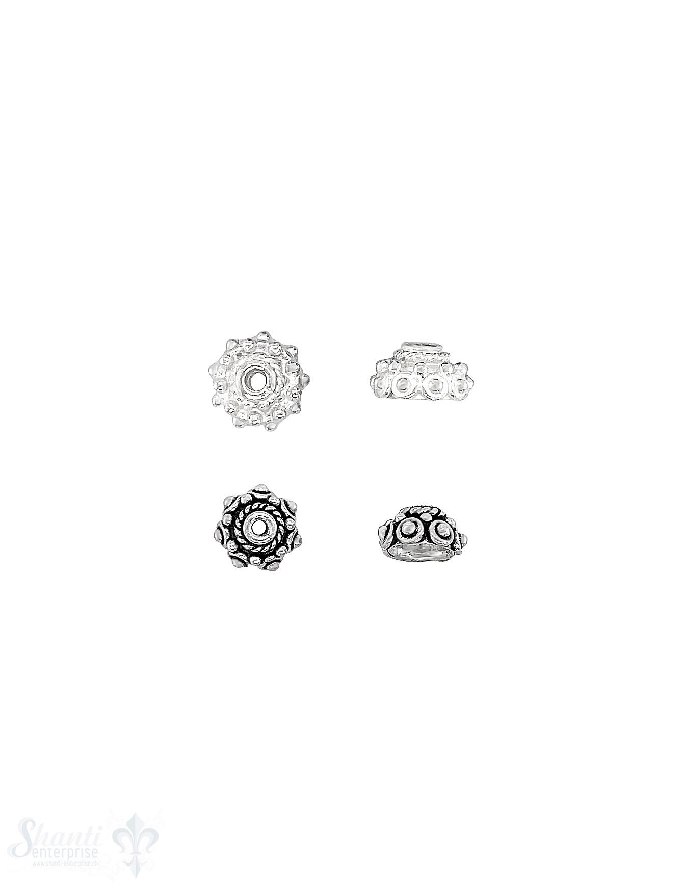 Noppen Perlkappe eingekreist Doppelrand verziert Silber 925