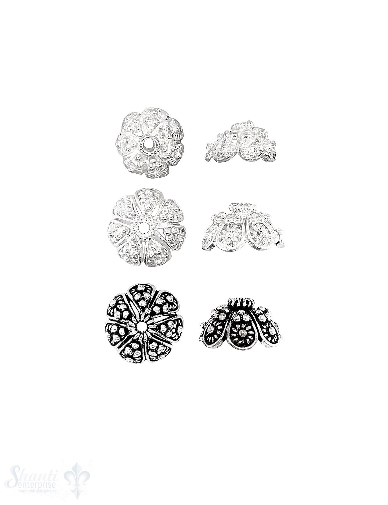 Blumen Perlkappe reich verziert mit Rand 8-blättrig leicht offen Silber 925