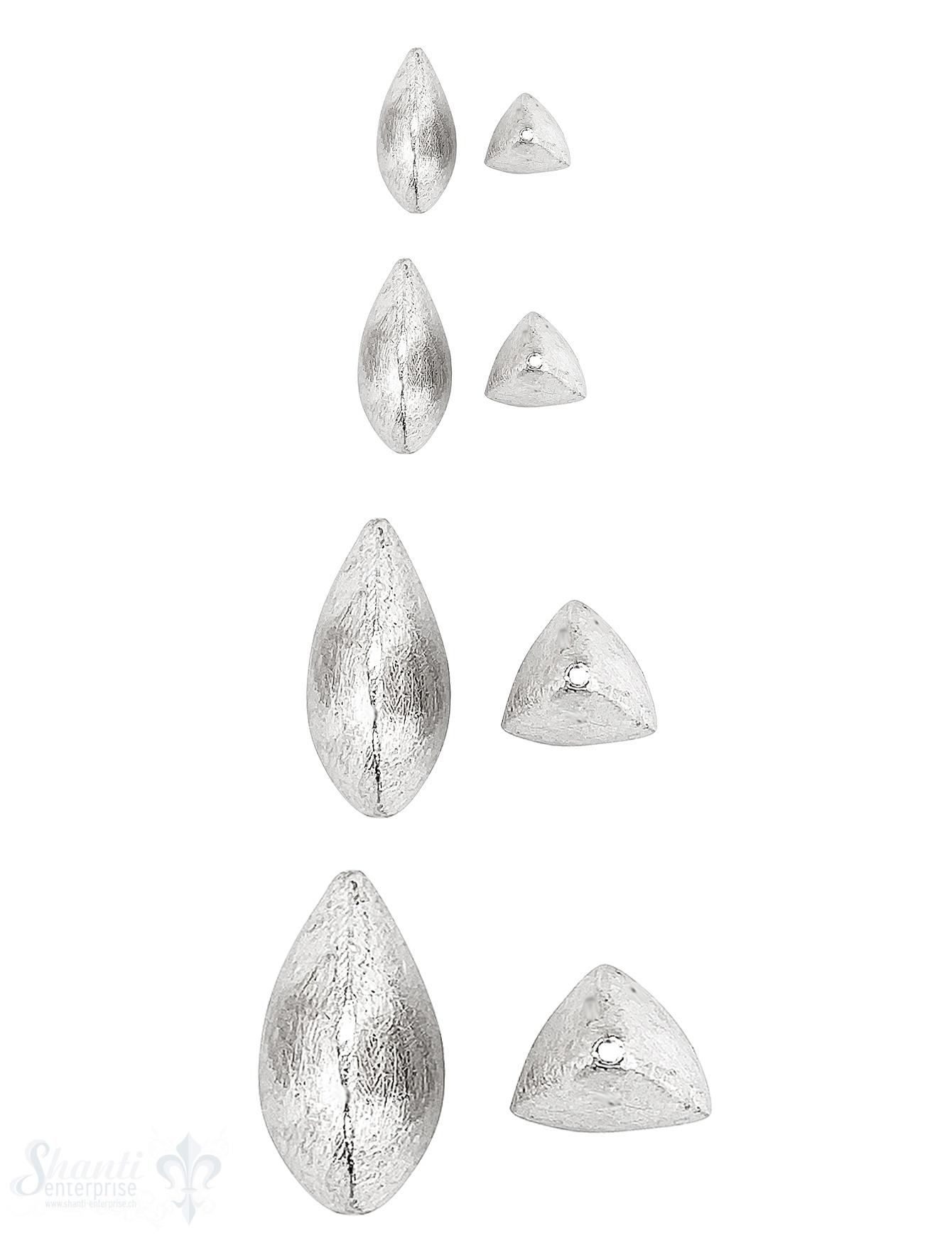 Navette Element 3- kantig abgerundet Silber 925  matt