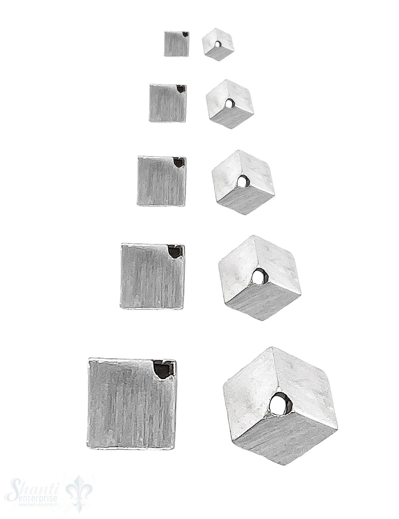 Rhombus matt diagonal gebohrt Silber 925 hell