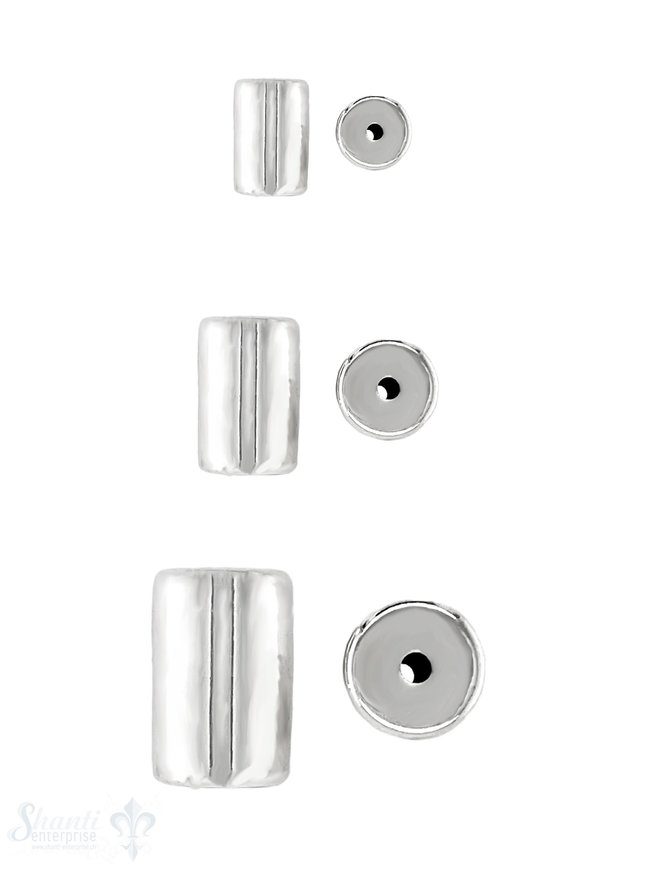 Zylinder Element poliert Silber 925 hell