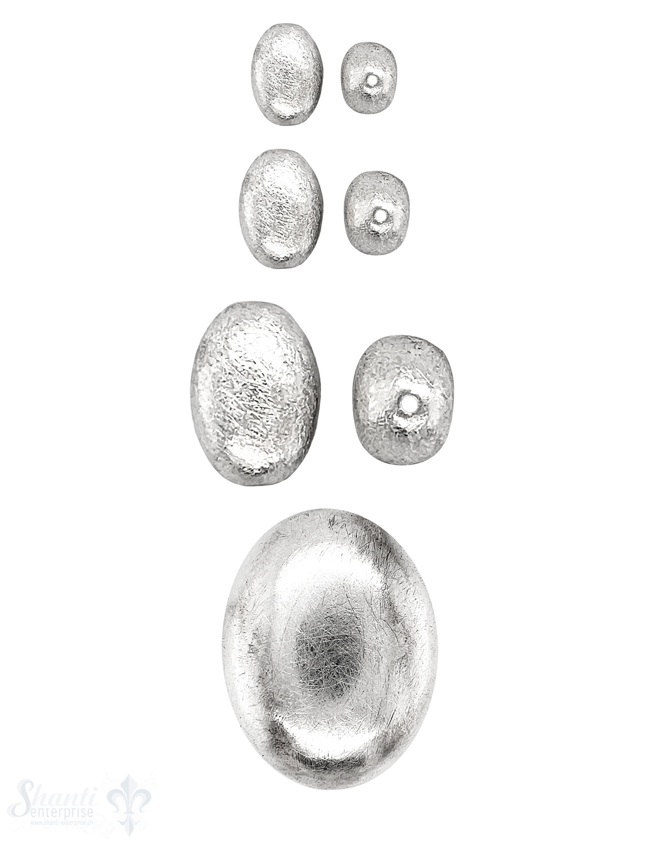 Ellipse matt flach Silber 925