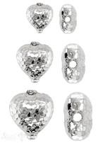Herz Element gehämmert mit Rand Silber 925 poliert