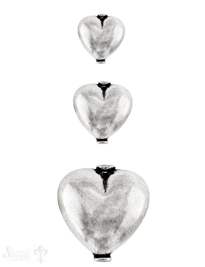 Herz Element poliert bauchig mit Rand Silber 925 hell