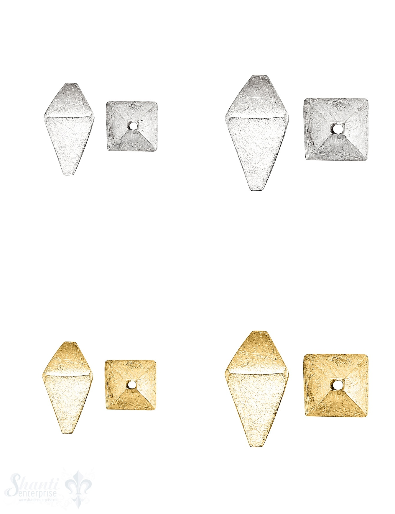 Oktaeder Element matt unregelmässig Silber 925 matt