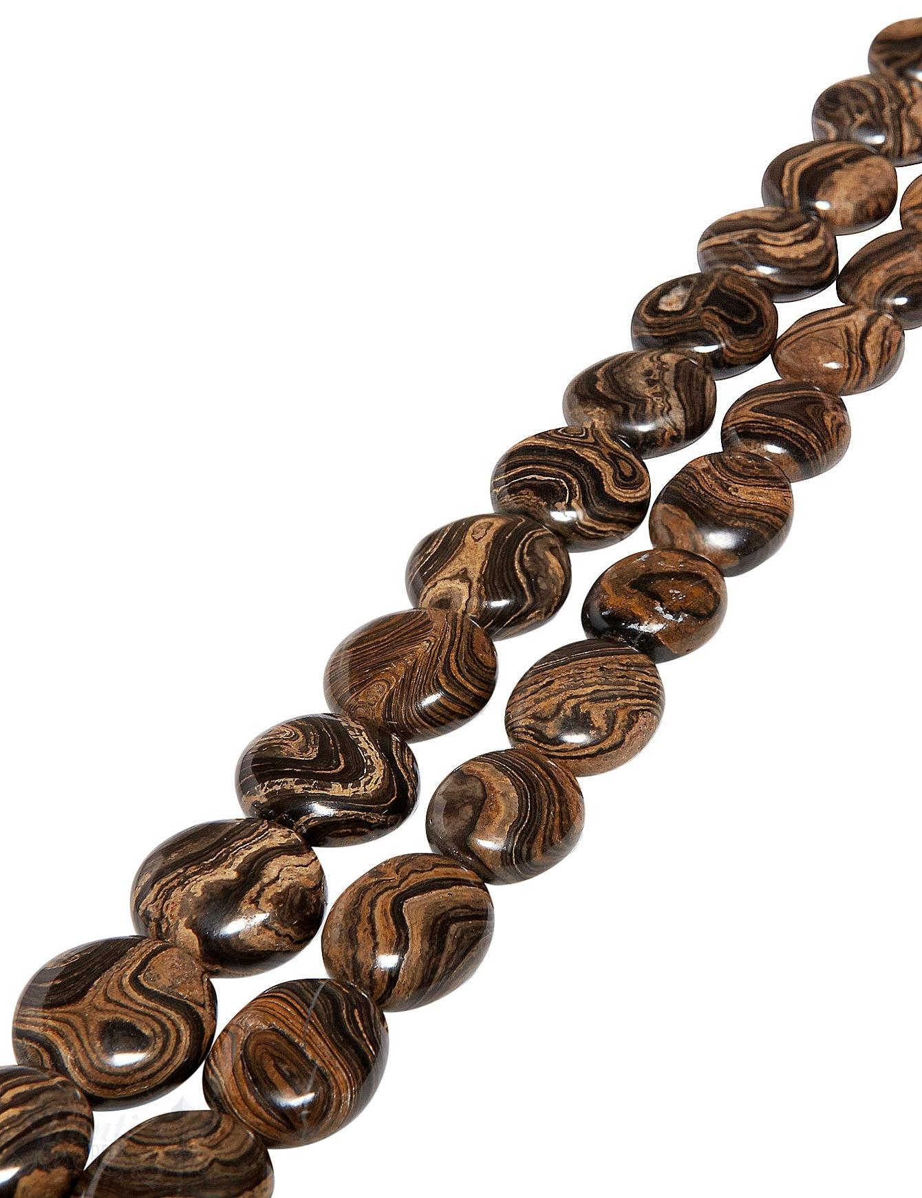 Schlangen-Jaspis Strang braun-beige poliert Disk AAA gefleckt