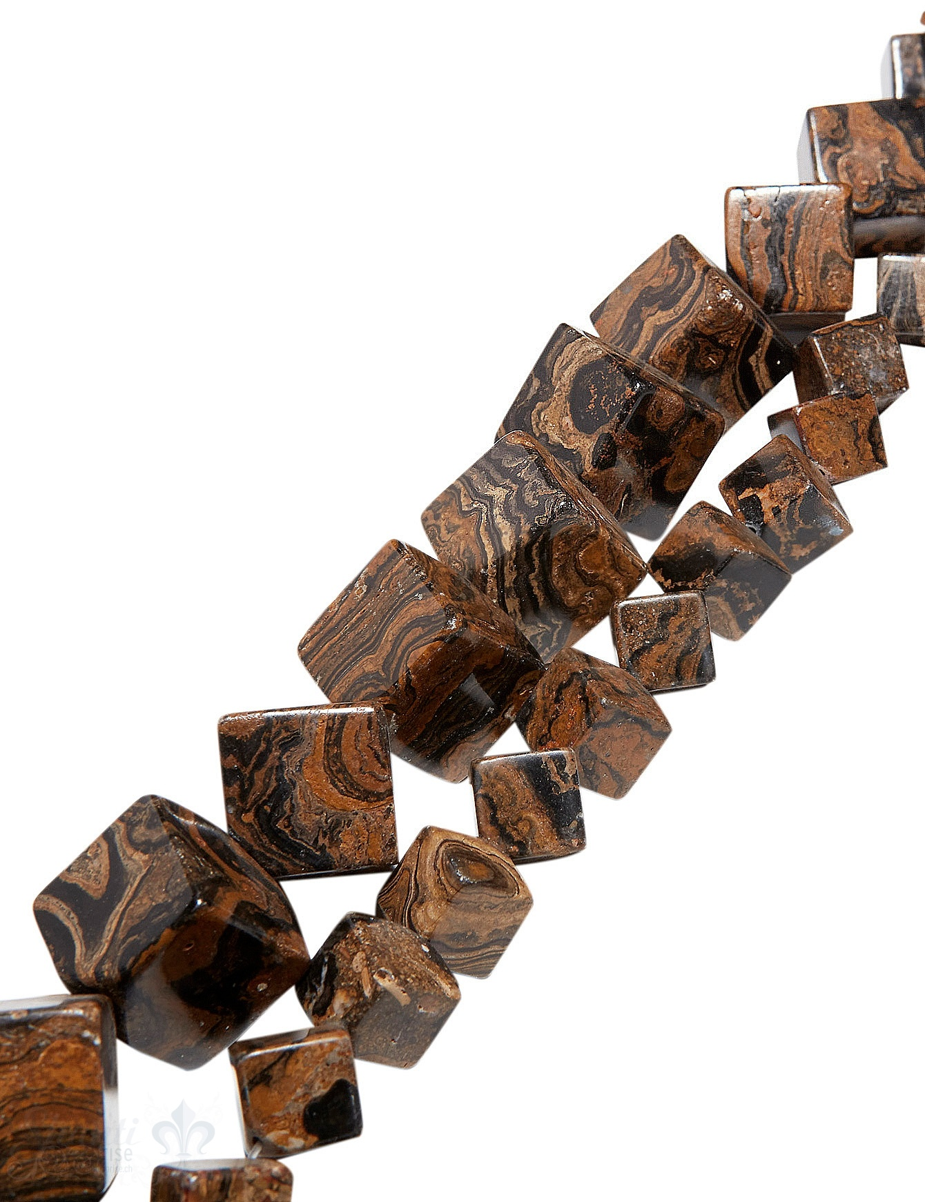 Schlangen-Jaspis Strang braun-beige poliert Würfel AAA gefleckt diagonal gebohrz