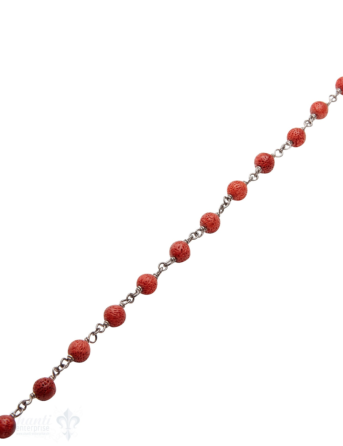 Rosenkranzkette Schaumkoralle rot 5 mm rund polier