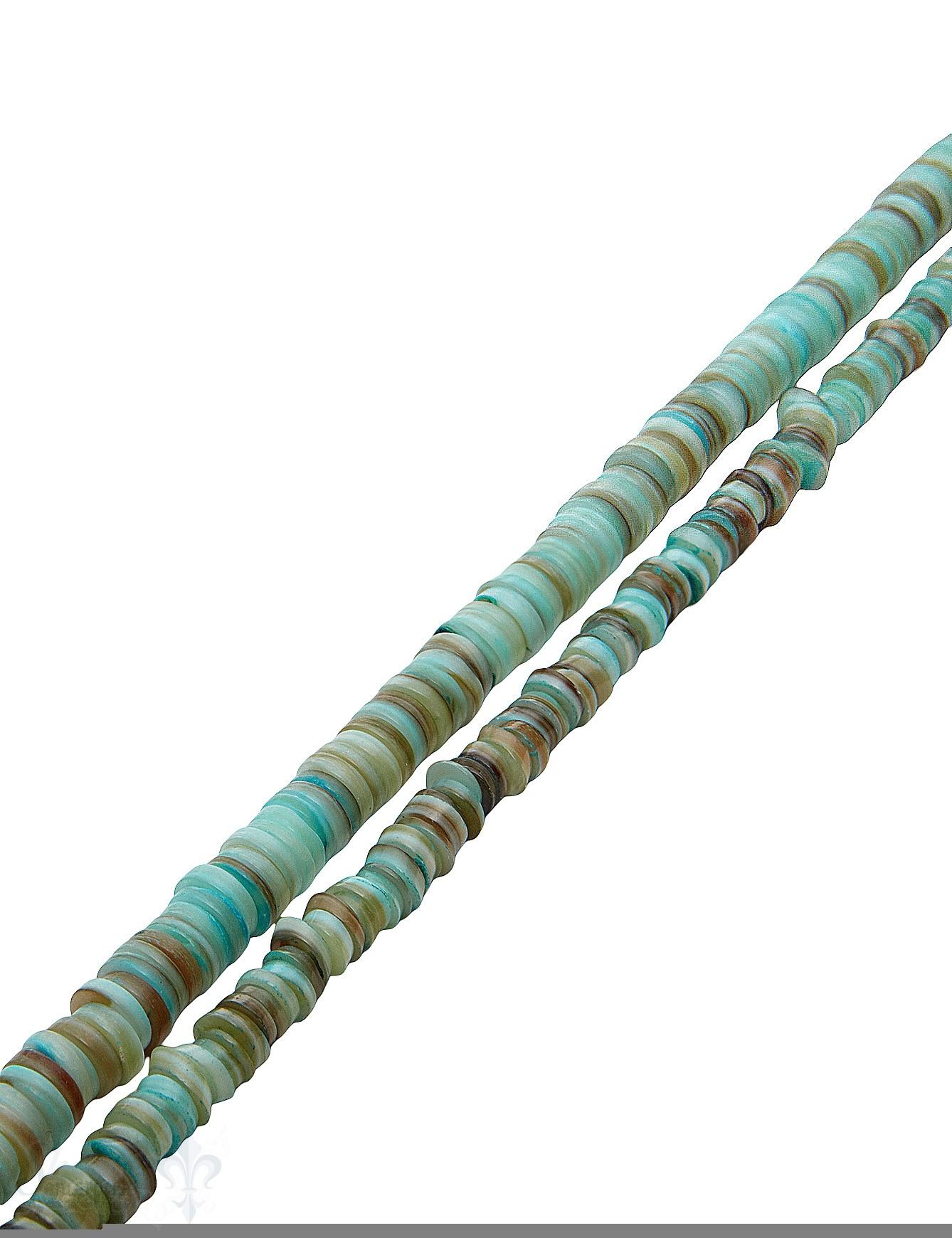 Muschel Strang türkis-braun Rondellen gefärbt