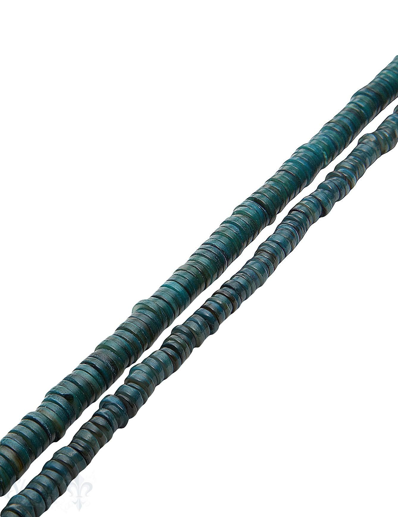 Muschel Strang petrol-blau Rondellen gefärbt