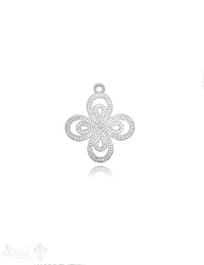 Anhänger Silber Blume hell durchbrochen 22 mm mit Öse lose