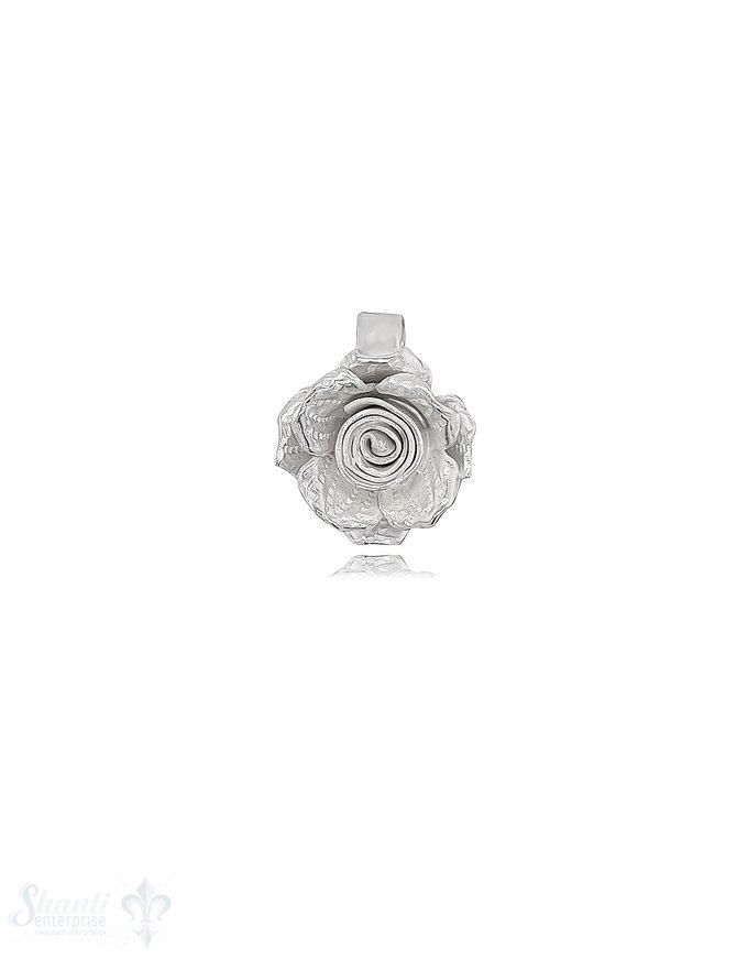 Anhänger Silber Rose 15 mm innen Quadrat mit Oese fix