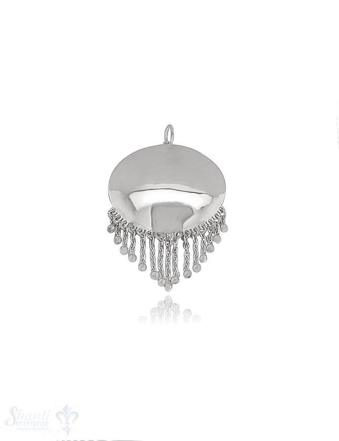 Anhänger Silber hell Medaillon Scheibe 30 mm mit mit Ketten-Anhängerli